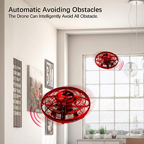Kim Player UFO Drones for Kids, Hand-Operated Flying Toys with 360 Degree Rotating, Flying Drone with 2 Game Modes - Flying & Ground, Rechargeable Mini Drone for Boys & Girls, Red