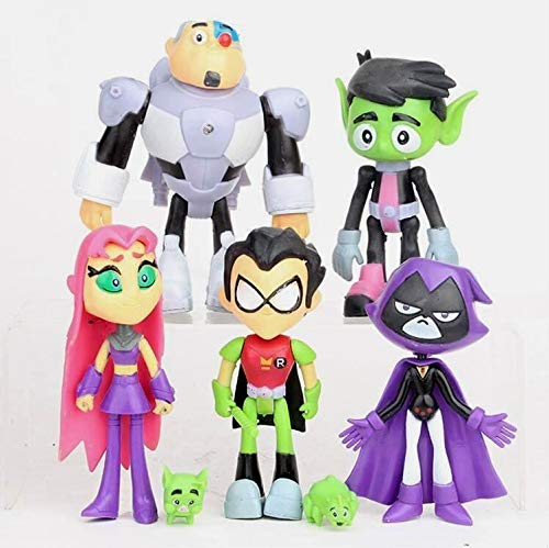 PAPRING Set 7 Teen Titans Go Toys 5 inch Beast Boy Doom Patrol Silkie Small PVC Action Figure Mini Model Figure Gift Christmas Halloween Birthday Gifts Cute Doll Collection Collectible -