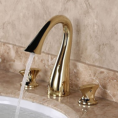 YZL Modern Luxury Deck Mounted Widespread with Brass Valve Two Handles Three Holes for Ti-PVD Bathroom Sink Faucet