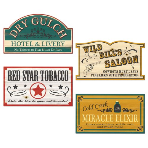 (Old Style Western Sign Cutouts   (4/Pkg))
