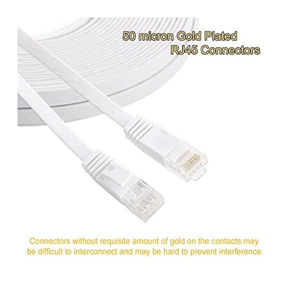 Cat 6 ethernet cable 3 ft white - flat internet network cable- short cat 6 computer patch cable with snagless rj45… 3 high performance cat6, 30 awg, ul listed, rj45 ethernet patch cable provides universal connectivity for lan network components such as pcs, computer servers, printers, routers, switch boxes, network media players, nas, voip phones cat 6 standard provides performance of up to 250 mhz and is suitable for 10base-t, 100base-tx(fast ethernet), 1000base-t/1000base-tx(gigabit ethernet)and 10gbase-t(10-gigabit ethernet) utp (unshielded twisted pair) patch cable with rj45 connectors