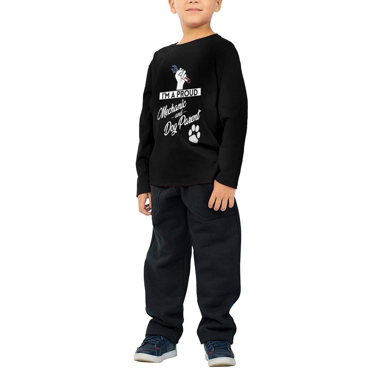 Proud Mechanic and Dog Parent Childrens Long Sleeve T-Shirt Boys Cotton Tee Tops