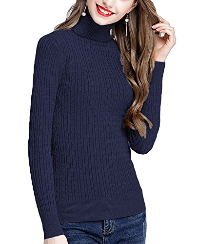 - MFrannie Womens Twist Ribbed Cable Stretchy Fit Knit Turtleneck Sweater Navy Blue M