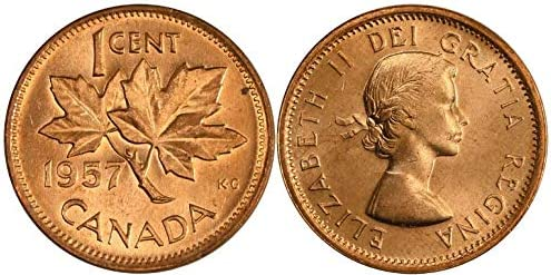1957 1 Cent Canadian Penny BU from Original Roll