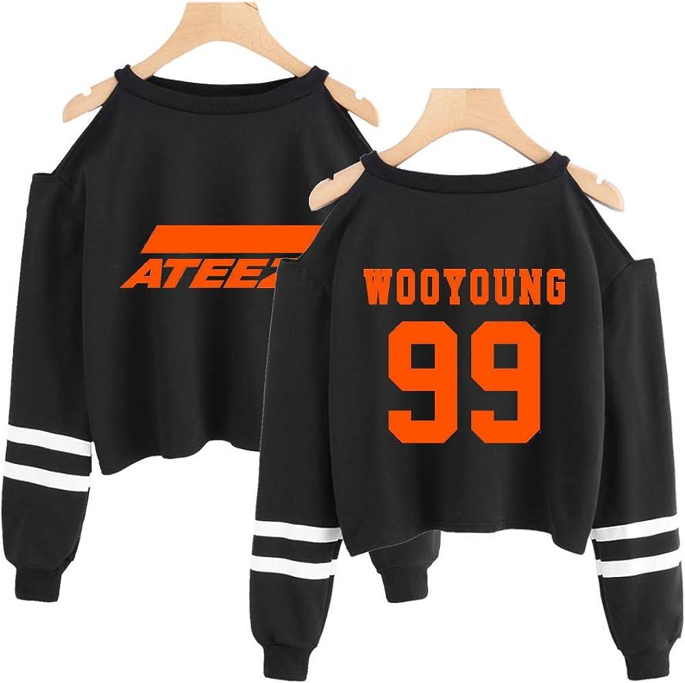 NCTCITY Kpop ATEEZ Crop Tops Pullover Printed Sweater Streetwear Exposing The Navel Sweatshirts Hip Hop Blouse Warm Outwear Fans Gift HONGJOONG SEONGHWA Yunho YEOSANG SAN MINGI WOOYOUNG JONGHO