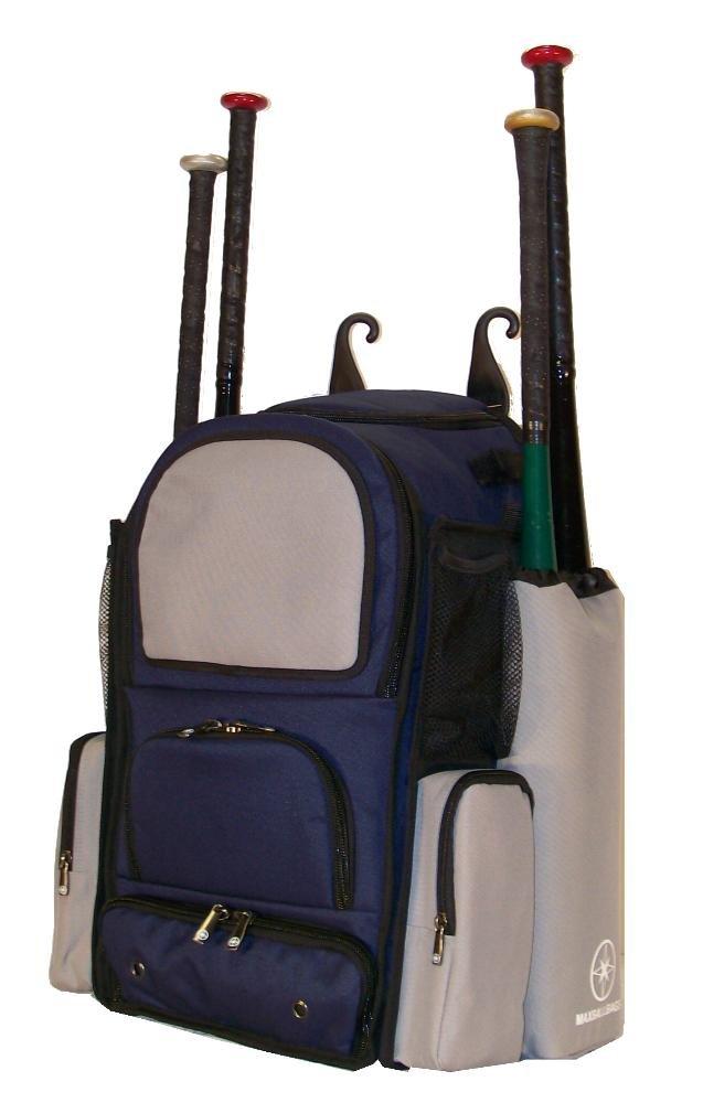 新しいデザインMedium Vista M in NavyブルーandシルバーTeenソフトボール野球バット機器バックパックwith Removableバット袖と刺繍パッチ B01N0TX27Z