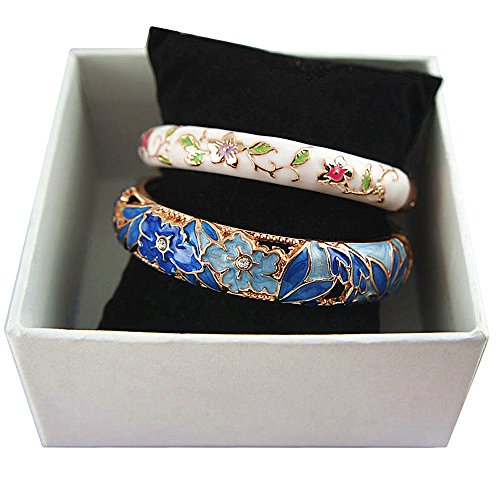 UJOY Fashion Cloisonne Bracelets Enameled Multi-Colors Women's Gifts Bangles Spring Hinged Gold Plated 88A12 Blue White