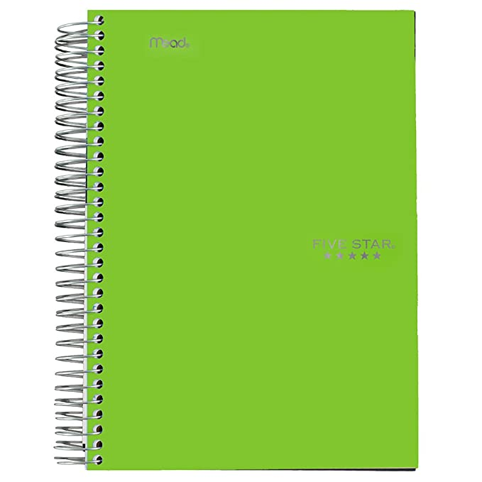 "Five Star Spiral Notebook, 1 Subject, College Ruled Paper, 100 Sheets, 7"" X 5"", Personal Size, Lime (73964) by Five Star"