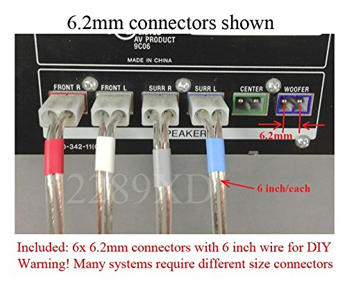 6.2mm Home Theater Speaker Wire Connectors(plugs) for Select old Sony, Samsung, Philips, LG, Plasma TV etc. 6 PCs, 6 inch/each; color coded; Please read warnings!