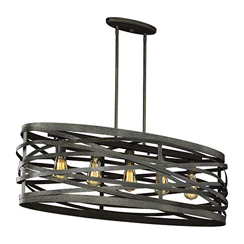 Sea Gull Lighting 6628605-802 Cowen Five-Light Island Pendant Hanging Modern Light Fixture, Obsidian Mist Finish