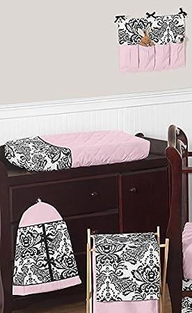 Pink and Black Damask Sophia Girl 11pc Girl Bedding Crib Set Without Bumper Sweet Jojo Designs B019J2DCKE