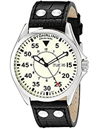 Stuhrling Original Men's 479.33153 Classic Traveler Trackmaster II Swiss Quartz Day and Date Black Leather Strap Watch