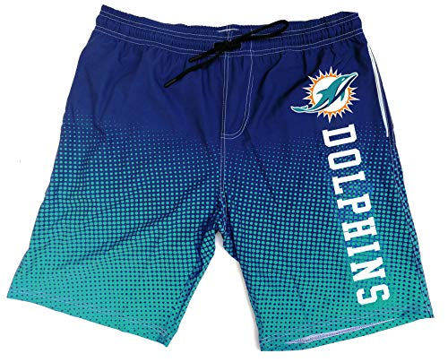 NFL Men's Swim Trunks Quick Dry Beach Shorts with Pockets (Miami Dolphins, M)