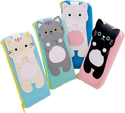 Locomo STA011 - Estuche para lápices (4 unidades), diseño de gato, color Set 4 Lovely Cat Pencil Case STA011: Amazon.es: Oficina y papelería