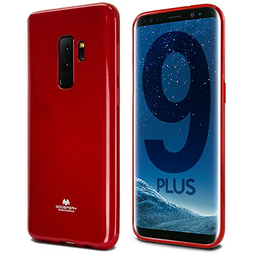 Galaxy S9 Plus Case, [Thin Slim] GOOSPERY [Flexible] Pearl Jelly Rubber TPU Case [Lightweight] Bumper Cover [Impact Resistant] for Samsung Galaxy S9 Plus (RED) S9P-JEL-RED ()