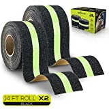 Anti-Slip Grip Tape - Glow-in-Dark for Local Illumination - Improves Grip and Prevents Risk of Slippage on Stairs or Other Slippery Surfaces - 2' Wide and 14' Long Roll - Keeps You Safe! (1 Pack)