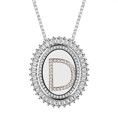 (Caperci Oval Two-Tone Cubic Zirconia Alphabet Initial Letter D Pendant Necklace for Women, 18