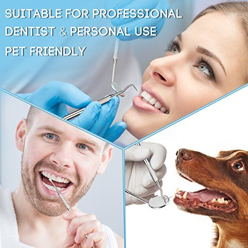 Dental Tools, ElleSye 8 PACK Dental Pick Oral Care Kit, Stainless Steel Dental Hygiene Kit Set, Tooth Scraper Plaque Tartar Dental Scaler Tweezers Mouth Mirror for Personal & Pet Oral Care Use by ELLESYE (Image #6)