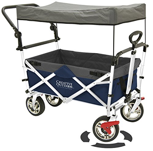 Push Pull Wagon For Kids Foldable With Sun Rain Shade