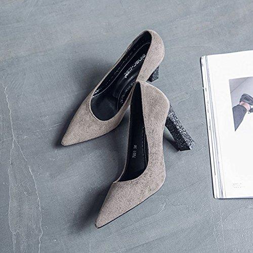 gris el luz de y tendencia singles femeninos punta satin verano punta alta Grueso boca zapatos Shoes La con la los 37 Heel y primavera pBx1C6qw7