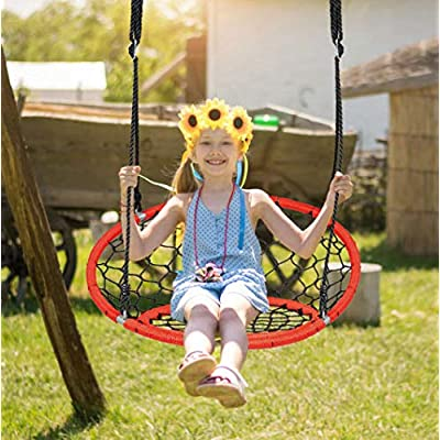 HLEST Net Hanging Swing Chair with Adjustable Hanging Ropes and Durable Steel Frame, Kids Play Equipment Great for Park Backyard (35'',Web Chair Swing): Toys & Games