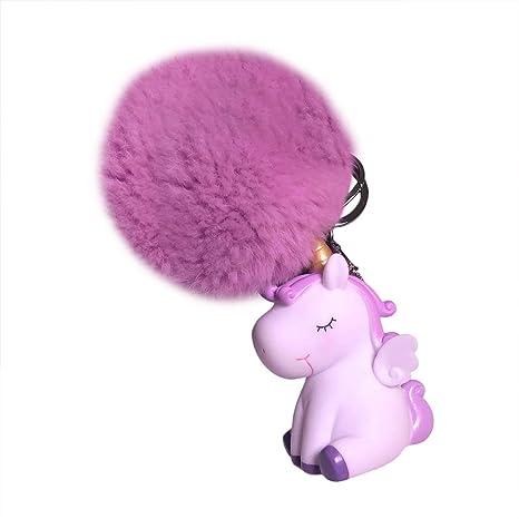 Cupcinu Llavero Unicornio Pompon Colgante de Llaves de niñas Claves de Silicona Blanda Decoraciones para Carteras Bolsos Móviles Mochilas Compacto y ...