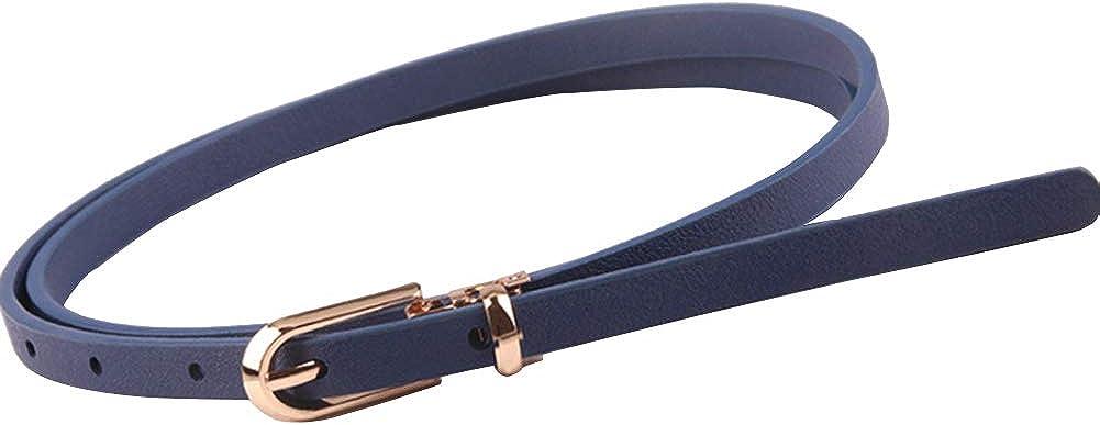 Womens Slim Waist Belts Buckle Elastic Stretch Dresses Belt Narrow Waistbands