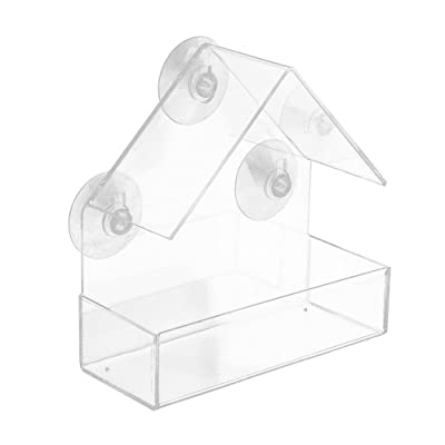 Sacow_Ship from US Warehouse Window Hanging Bird Feeder, Sacow Removable Tray Acrylic Outdoor Window Bird House with Strong Suction Cups: Toys & Games