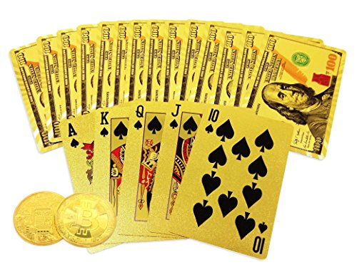 Big Texas Mall 24k Gold Poker Playing Cards w/Gold Plated Collectible Bitcoin Coin for Place Setting Cards Real Gold Standard Professional Quality Ben Franklin 100 Bill Gold Foil Plated Prestige Set by Big Texas Mall