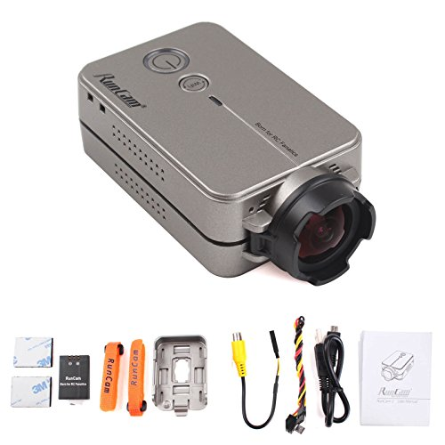 RunCam2 5-17V 1080P 60FPS 40ms Low Latency The Lightest Mini Sport Action RC FPV HD Camera with built-in Wi-Fi(Silver-gray)