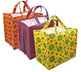 NISUN 3 Pack Eco Friendly Printed Non-Woven Vegetable/Grocery Bag with Multi Pocket - Color and Design