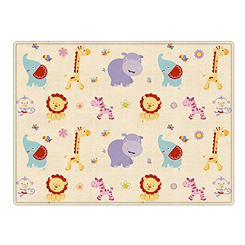 Thicken Baby Crawling Mat Baby Care Game Mat Foldable Double-Sided Use Baby Living Room Home Unscented Stitching Bubble Cartoon Animal Car 70.74x58 .95x0.39 in -