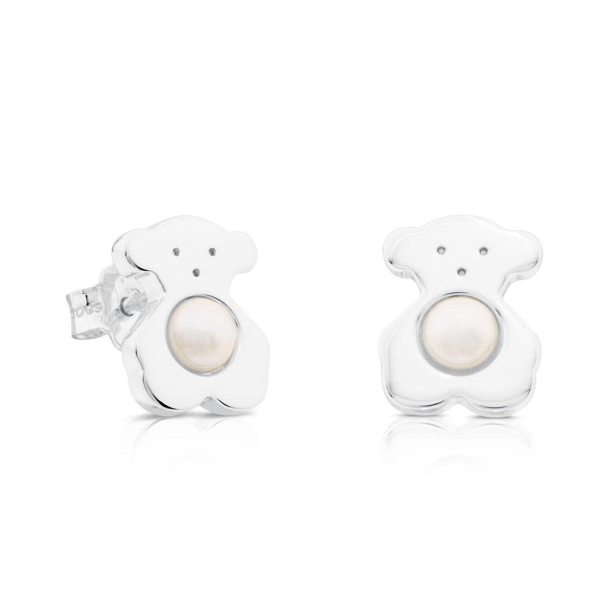 TOUS Sterling Silver Sweet Dolls Bear with Fresh Water Cultured Pearl Earrings
