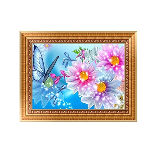 Usstore 1PC 5D DIY Flowers Beautiful Painting Diamond Embroidery Rhinestone Diamond Painting Cross Crafts Stitch For Home Room Decoration Mural Collect (C)