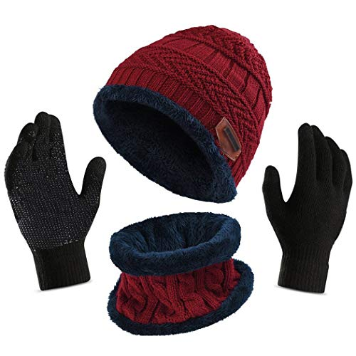 Affei Winter Slouchy Beanie Gloves Women Knit Hats Skull Caps Touch Screen (Red, One Size)