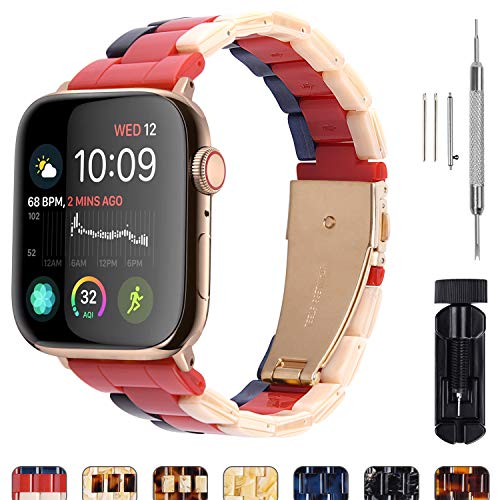 7 Colors Compatible Apple Watch 38mm/40mm/42mm/44mm, Fullmosa Bright Resin Apple Watch Band for Watch Band Series 4/3/2/1, Hermes, Nike+, Edition, Sport, Beige+Red+Sapphire(Gold Hardware) 44mm ()