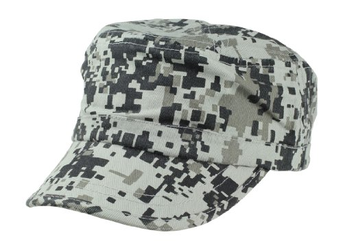 Camouflage Hat Washed Army Military Cap in Gray Pixels Adjustable Plain (Pixel Camo Army Cap)