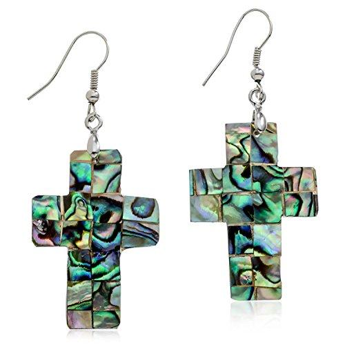 Abalone Cross Silvertone Dangle Earrings PammyJ