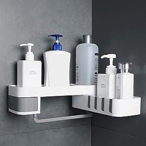 Shower Shelf, SPGHOME Wall Mounted Bathroom Storage Rack Practical Kitchen Storage Rack Self-adhesive for Kitchen Bathroom, White and grey