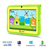 Yuntab Kids Tablet Q88R 7 Inch Allwinner A33,1.5Ghz Quad Core Android 4.4 Tablet PC,512MB+8GB,HD 1024x600,Dual Camera,WiFi,Bluetooth,3D Game,TF Card,Support Parental Control Software - iWawa(Green)