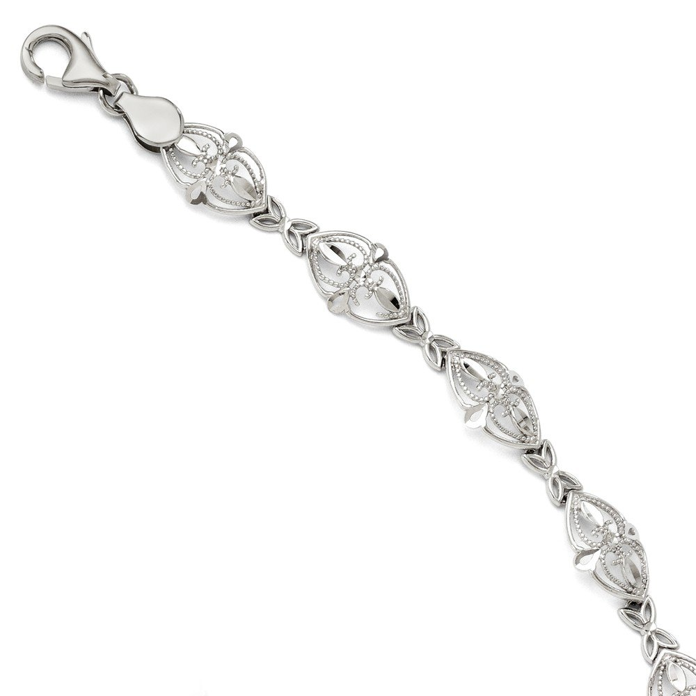 14k White Gold Bracelet 7 Inch Fancy Fine Jewelry Gifts For Women For Her by ICE CARATS