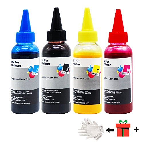 Printers Jack 400ML Sublimation Ink For Inkjet Printers C68 C88 C88+ WF7610 WF7010 WF7710 WF7110 WF3640 WF3610 WF3540 Heat Press Transfer on Mugs, Plates, Polyester Shirts, Phone Cases etc …