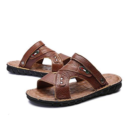 Punta Zapatos 2018 Playa de Suaves de de los Hombres Respirables Cuero Ocasionales Antideslizantes Sandalias Planas Genuino sin Respaldo Brn Zapatillas Sandalias Dark Ajustable Abierta de TqnwFTH
