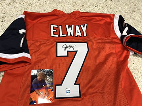 John Elway Autographed Signed Orange Denver Broncos Custom Jersey Elway Player Hologram