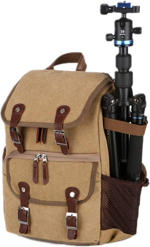 KMCMYBANG Camera Backpack Camera Backpack Waterproof Photography Bag Large Capacity Multifunctional Camera Backpack for Women and Men Camera Travel Bag Color : Khaki, Size : 28x42x16cm