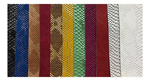 Best Seller! Vinyl Faux Fake Leather Snake Viper Embossed Fabric Sold by The Yard ()