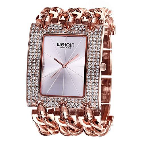 VAXT Aim Women Fashion Rhinestone Inlaid Lame Case Alloy Bracelet Band Analog Quartz Wrist Watch (Size : Ca6515rgs)