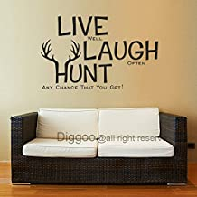 Live Laugh Hunt Wall Decal Deer Antler Decal Hunting Decor Wall Words Vinyl Wall Art(Dark brown,m)