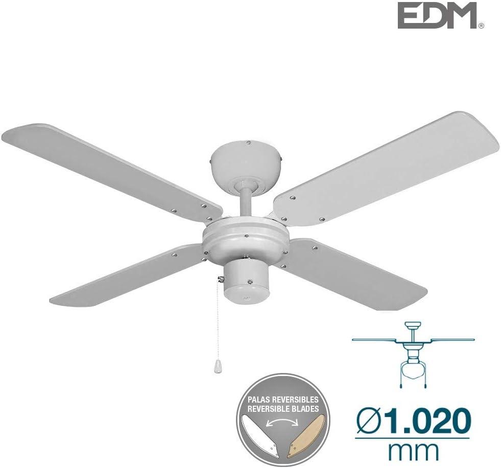 Ventilador de techo BALTICO 50W 85cm blanco sin luz EDM 33802