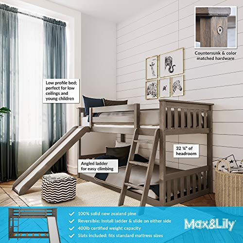 Max & Lily Solid Wood Twin Low Bunk Bed with Slide, Clay
